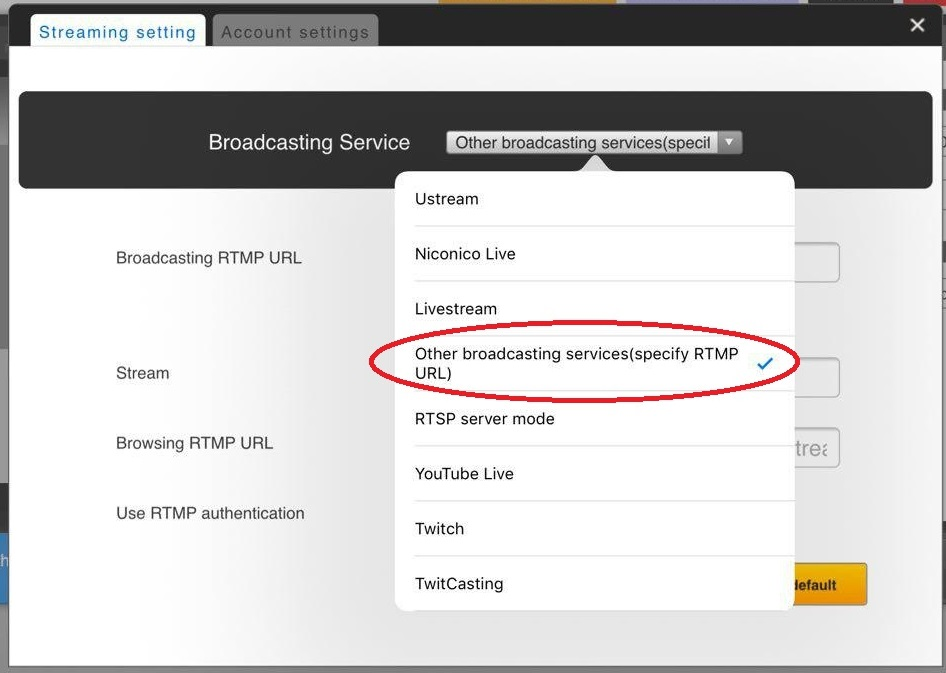 Broadcasting to Ustream with RTMP URL and stream name